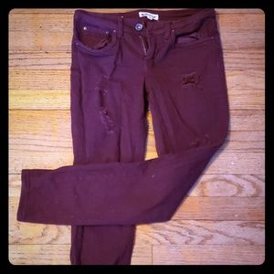 Skinny stretch roll up burgundy color jeans